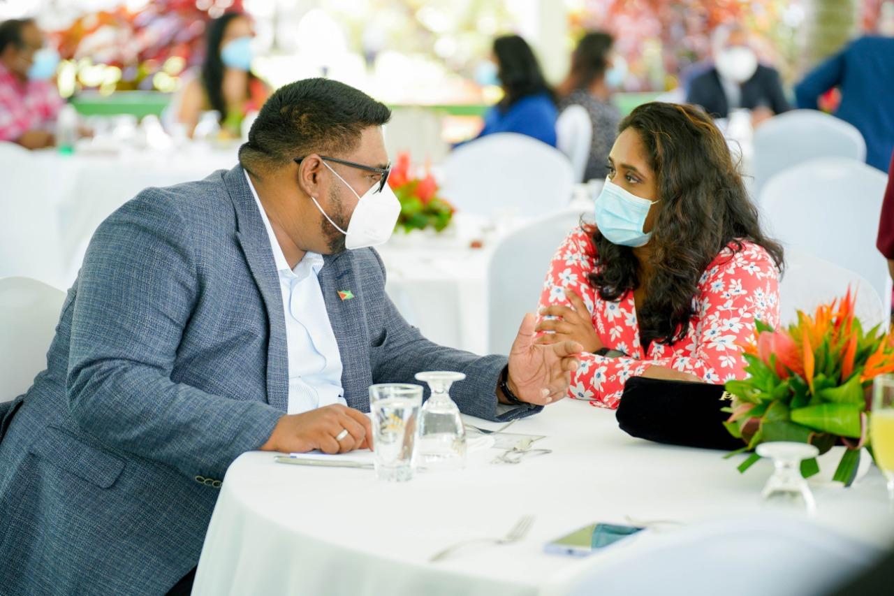 President Irfaan Ali and head of the Guyana Press Association, Ms Nazima Raghubir at the Annual Media Brunch 2021